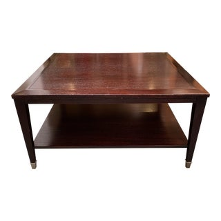 Rosewood Stain + Polished Chrome Cap Coffee Table For Sale