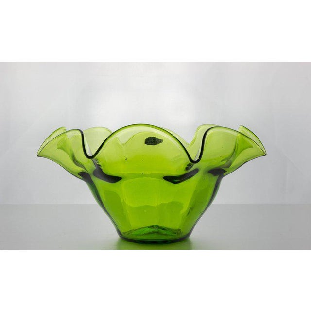 Green Blenko Fluted Fruit Bowl - Image 3 of 11