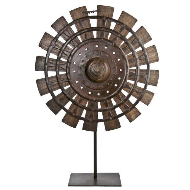 Vintage Wood Loom Wheel on Recycled Iron Stand I - Image 1 of 3