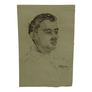 "1950s Figurative Original Drawing/Sketch on Paper ""Dapper Dan"" by Tom Sturges Jr For Sale"