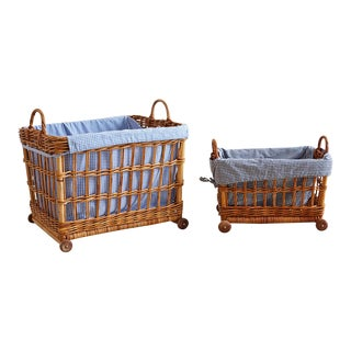 Pair of Vintage Rolling Wicker Baskets With Gingham Liners