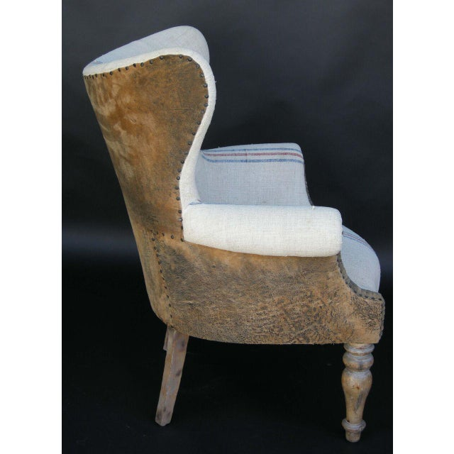 Custom Lambskin and Vintage Linen Chairs - Image 4 of 8