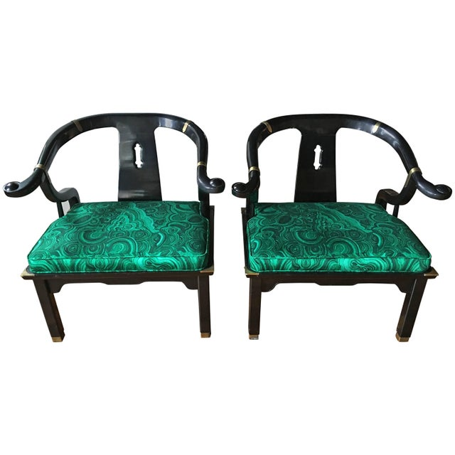 Textile James Mont Style Malachite Lacquer Lounge Chairs by Century- A Pair For Sale - Image 7 of 7