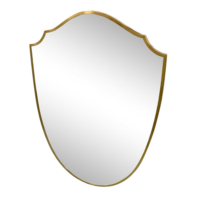 Vintage Italian Brass Frame Wall Mirror For Sale
