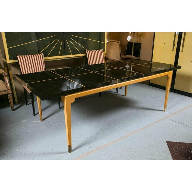 Tommi Parzinger Inlaid Mahogany Dining Table - Image 3 of 9