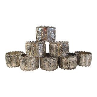 Vintage Silver Leaf Napkin Rings - Set of 8 For Sale