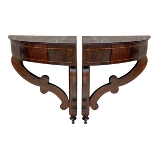 French Biedermeier Style Corner Walnut Wall-Mounted Consoles - a Pair For Sale