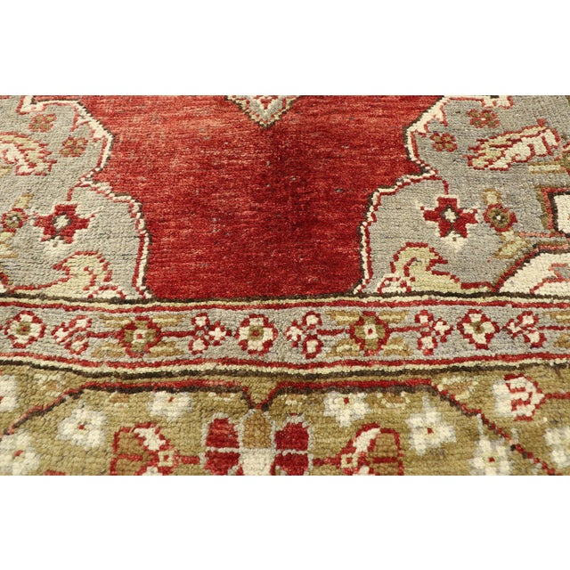 Brick Red Vintage Turkish Oushak Gallery Rug, Wide Hallway Runner - 05'01 X 11'04 For Sale - Image 8 of 11
