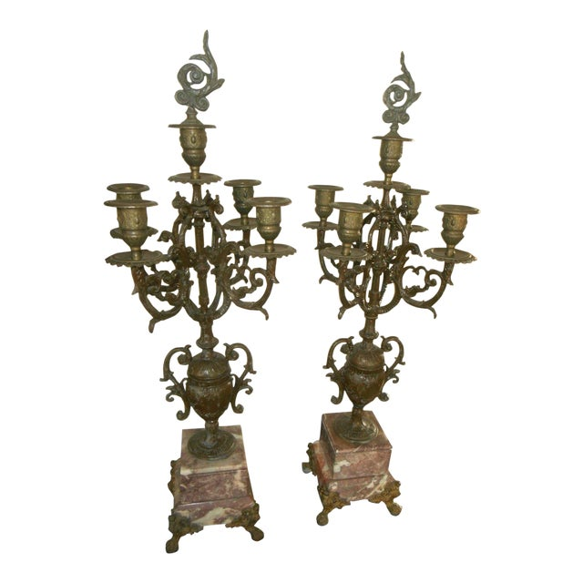 Antique Rose Italian Marble and Gilt Brass Candelabras - A Pair - Image 1 of 6