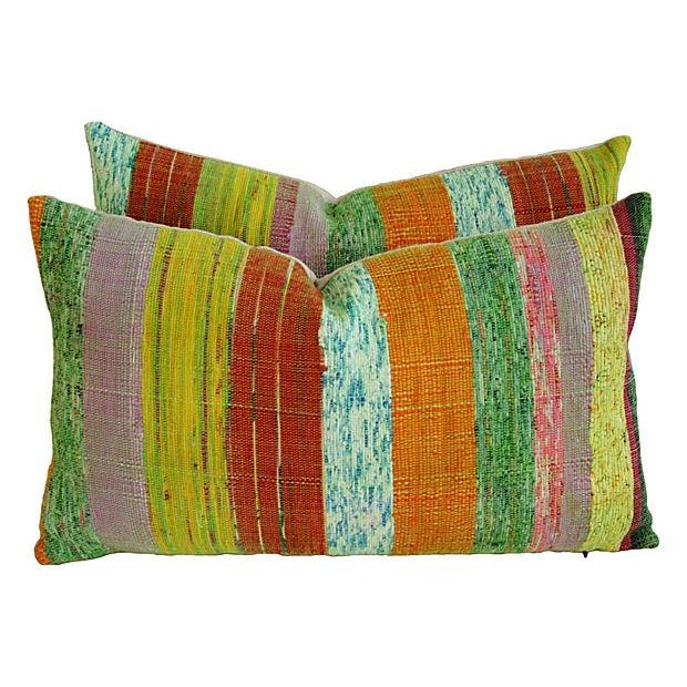 Custom Hand-Looped/Tufted Chindi Pillows - a Pair - Image 5 of 6