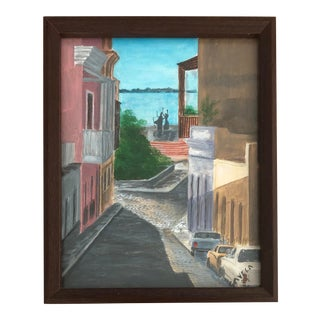 Italian Cityscape Painting, Signed 1984 For Sale