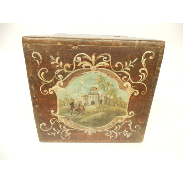 Art Nouveau 19th Century Italian Painted Scenes on Herb Box For Sale - Image 3 of 7