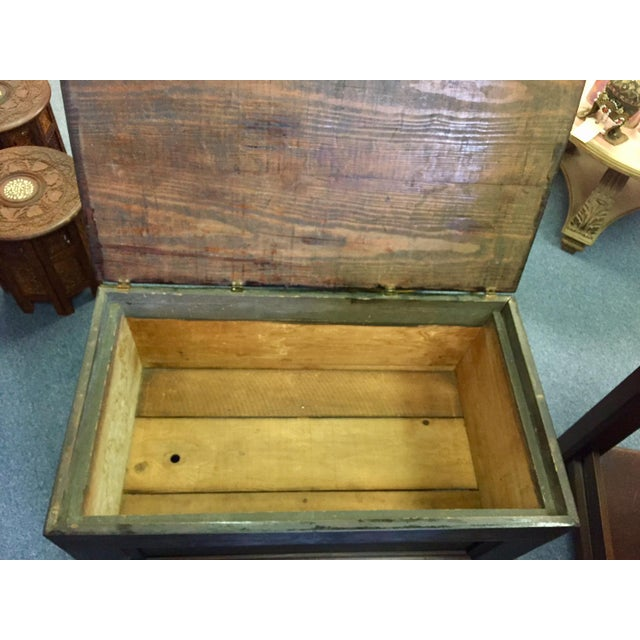 Black 1930's Vintage Primitive Large Oak Trunk For Sale - Image 8 of 11