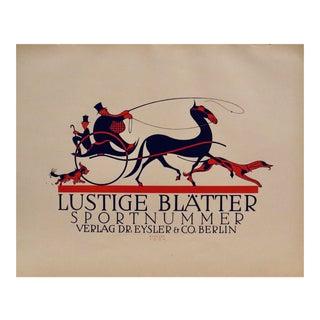 1923 Original German Poster, Lustige Blatter, Sportnummer (Horse-Drawn Carriage, Dogs) For Sale