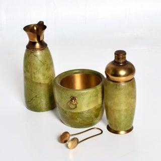 Mid Century Modern Italian Bar Set Aldo Tura Macacbo Green Goatskin Brass Preview