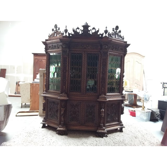 Ornate Renaissance Revival French Bookcase For Sale - Image 9 of 12