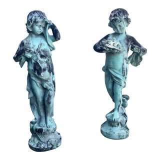 Pair Patinated Bronze Garden Putti Figures For Sale