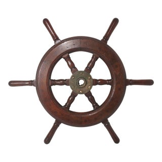 Authentic Vintage Mahogany & Brass Ships Wheel For Sale