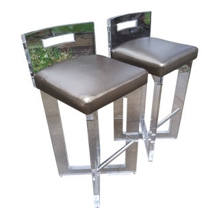 Lucite Bar Stools by Shlomi Haziza- a Pair For Sale