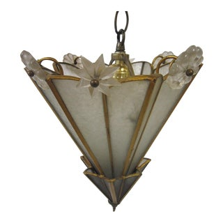Art Deco Regency Brass and Glass Pendant Fixture For Sale