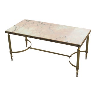 Monumental French Maison Jansen Coffee or Cocktail Table Bronze Rectangular With Marble Top Circa 1940s
