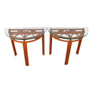 Tropical Modern Rattan Demilune Glass Top Consoles in Hermes Orange. 1940s