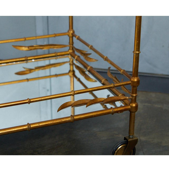 1950s Hollywood Regency Faux Bamboo Bar Cart For Sale - Image 4 of 9