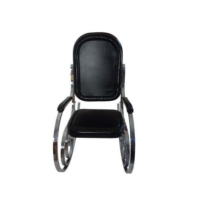 1970s Maison Jansen Black Leather Rocking Chair For Sale - Image 5 of 10