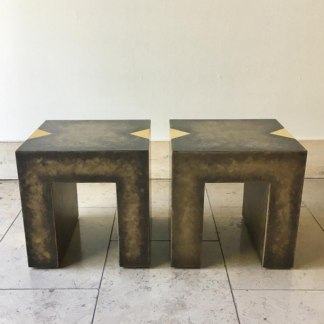 Pair of Square Bronze Collection Side Tables by Talisman Bespoke For Sale - Image 10 of 10