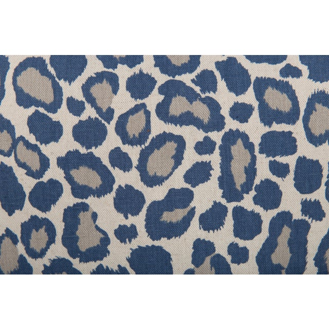 Traditional Blue and Gray Leopard Linen Blend Pillows, a Pair For Sale - Image 3 of 5