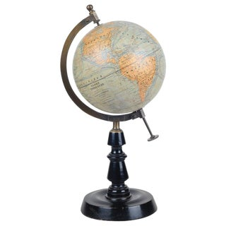 J. Forest French Art Deco Terrestre Table Globe With Bronze Axis , Antique, With All Descriptions in French, Made in Paris For Sale