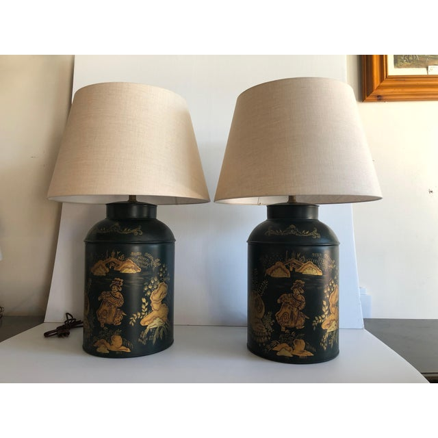Metal Chinese Style Dark Green Tole Tea Canister Lamps – a Pair For Sale - Image 7 of 7