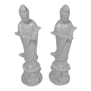 Vintage White Porcelain Kwan Yin Figurines - Pair For Sale