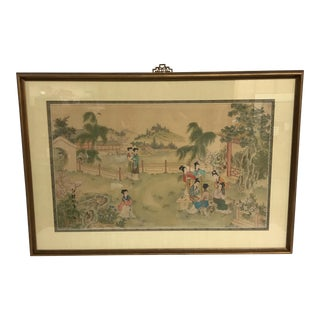 Chinese Pastoral Scene on Silk