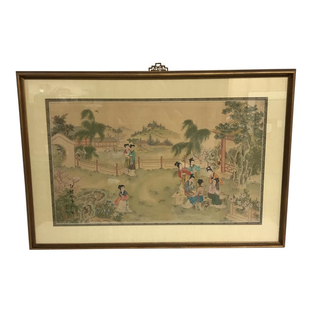 Chinese Pastoral Scene on Silk - Image 1 of 9