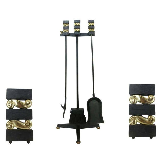 1940s Donald Deskey Andirons With Matching Firetool Set - Set of 6 For Sale - Image 13 of 13