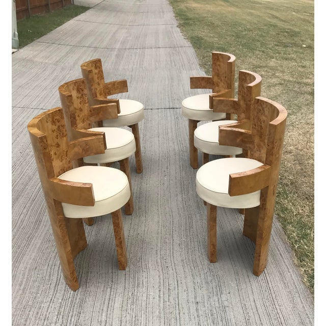 Brown 1930s Chippendale Burl Wood Dining Chairs - Set of 6 For Sale - Image 8 of 8