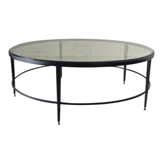 Vintage Modern Glass and Iron Coffee Table For Sale