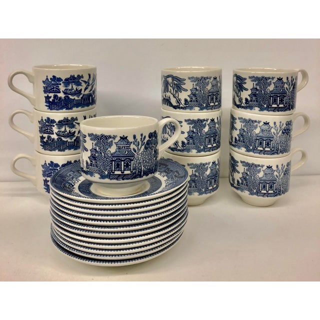 Churchill Blue Willow Cups & Saucers Set - 22 Piece Set For Sale - Image 9 of 9