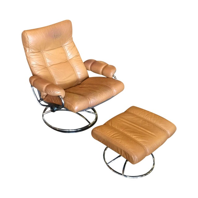 Ekrone Stressless Leather Recliner & Ottoman - Image 1 of 9