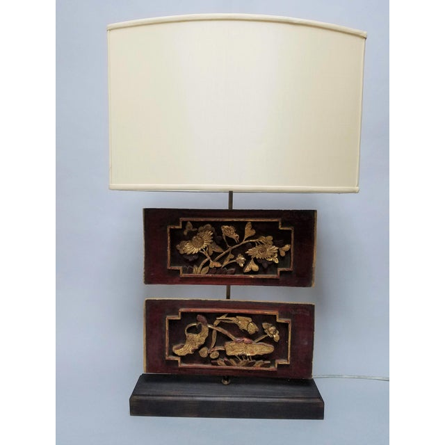 Carved Chinese Architectural Panel Lamp With Shade For Sale - Image 11 of 11