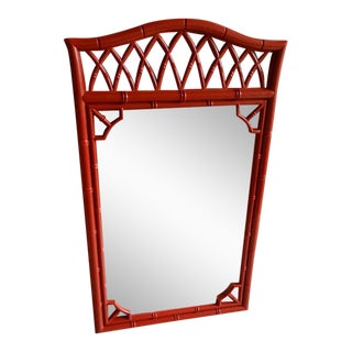 Thomasville Faux Bamboo High Gloss Red Mirror
