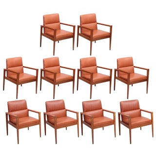 Set of Ten Labeled Jens Risom Armchairs in Walnut in Cognac Leather For Sale