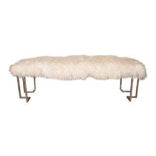 Rectilinear Nickel Bench with Shearling Upholstery For Sale