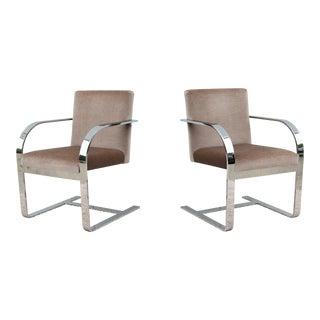 1970s Vintage Mid-Century Modern Chrome and Mohair Flat Bar Armchairs - a Pair For Sale