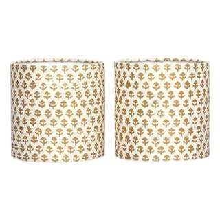 John Robshaw Bindi Gold Lamp Shades - A Pair For Sale