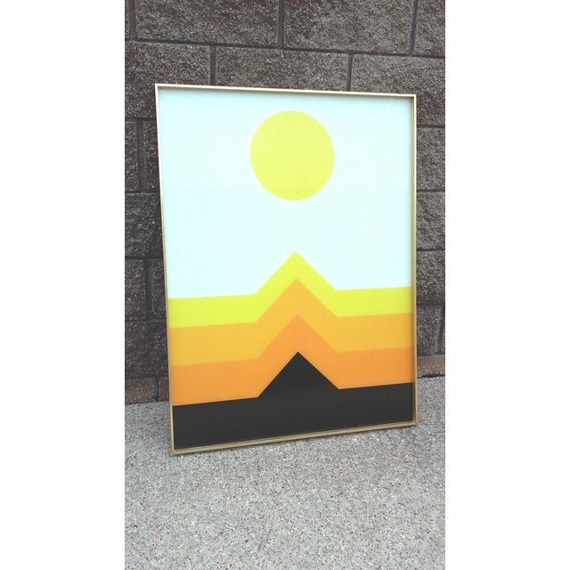 1970s OpArt Geometric Framed Print - Image 3 of 5