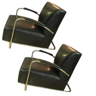 Mitchell Gold Deco Tubular Chrome & Black Faux Leather Club Chairs - A Pair