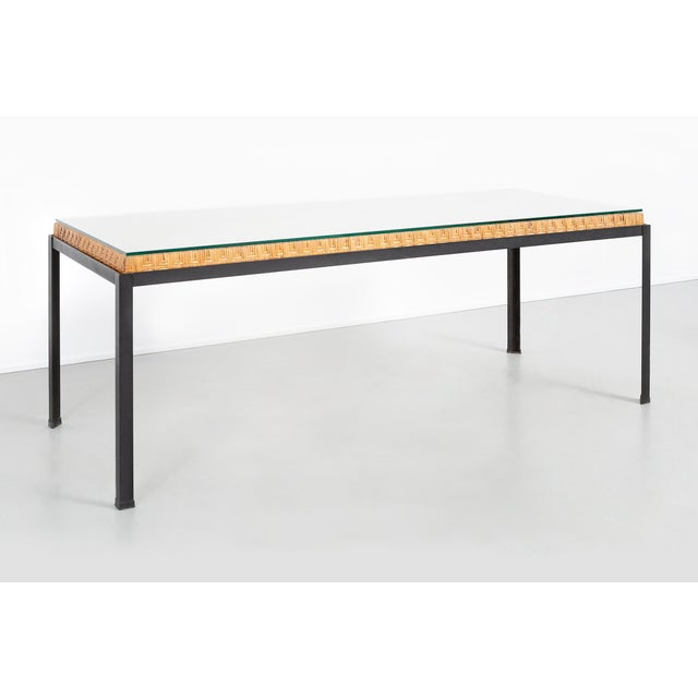 Contemporary Danny Ho Fong Hand-Woven Reed Dining Table For Sale - Image 3 of 11