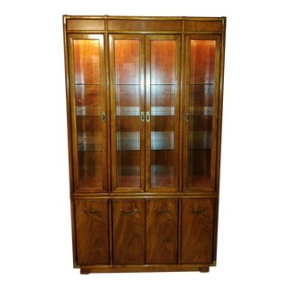 1960s Drexel Heritage Accolade Campaign Style Lighted China Display Cabinet For Sale
